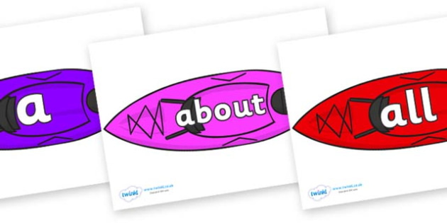 100 High Frequency Words on Canoes - High frequency words, hfw, DfES Letters and Sounds, Letters and Sounds, display words