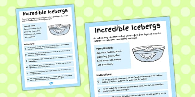 Incredible Icebergs Adult Guidance Sheet - guides, guide, sheets