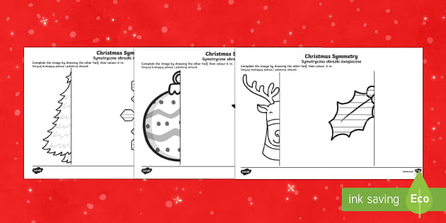 Christmas Themed Symmetrical Activity Sheets English/Polish - Symmetry, Wales, Christmas, Geometry, christmas symmetrical decorations,