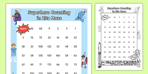 Superhero-Themed Counting in 25s Maze - superhero, counting, count, maze, 25