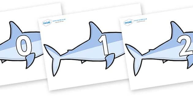 Numbers 0-100 on Sharks - 0-100, foundation stage numeracy, Number recognition, Number flashcards, counting, number frieze, Display numbers, number posters