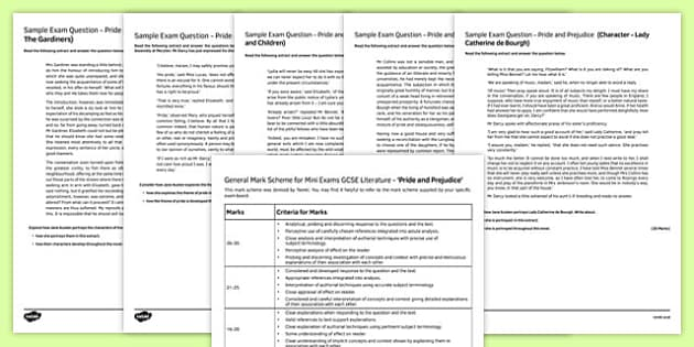 Pride and Prejudice (2) Mini Exam Pack, Jane Austin, Pride and Prejudice, GCSE, KS4, practice, practise, novel, text,