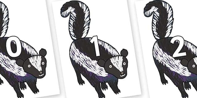 Numbers 0-31 on Skunk to Support Teaching on The Bad Tempered Ladybird - 0-31, foundation stage numeracy, Number recognition, Number flashcards, counting, number frieze, Display numbers, number posters