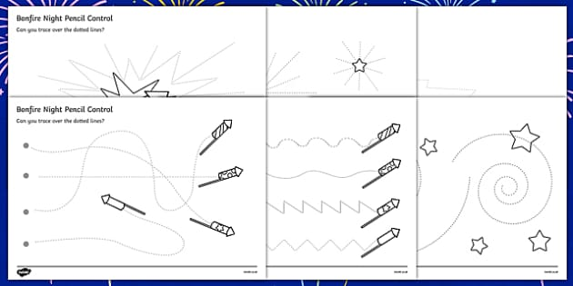 Bonfire Night Pencil Control Sheet - bonfire night pencil control sheet, pencil control, pencil, control, worksheet, sheet, Bonfire, Fireworks Night, Guy, Autumn, display, firework, bang, crackle, woosh, rocket, sparkler, catherine wheel, screech, wh