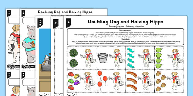 Differentiated Doubling and Halving Activity Sheet Polish Translation - polish, doubling, halving, activity, worksheet