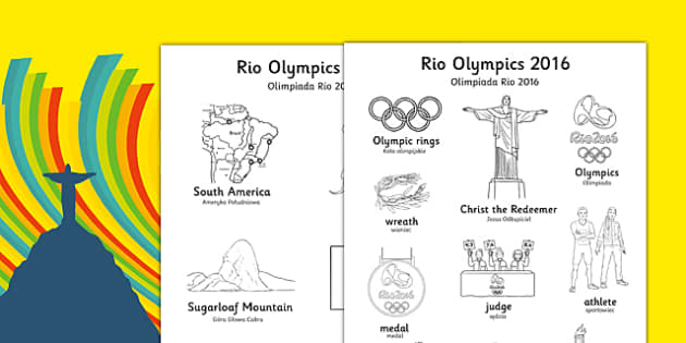 Rio Olympics 2016 Words Colouring Sheet Polish Translation - polish, rio 2016, rio olympics, rio olympics 2016, 2016 olympics, words, colouring, sheet