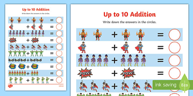 Superheroes Addition Up to 10 Activity Sheet - superheroes, addition, up to 10, activity, worksheet