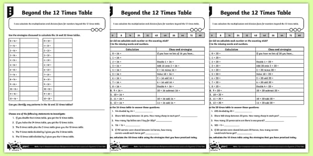 Calculating Multiplication Tables Beyond 12 Times Activity