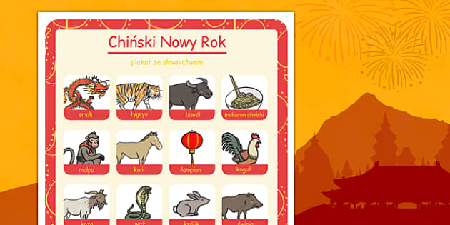 Plakat ze słownictwem Chiński Nowy Rok po polsku - święta
