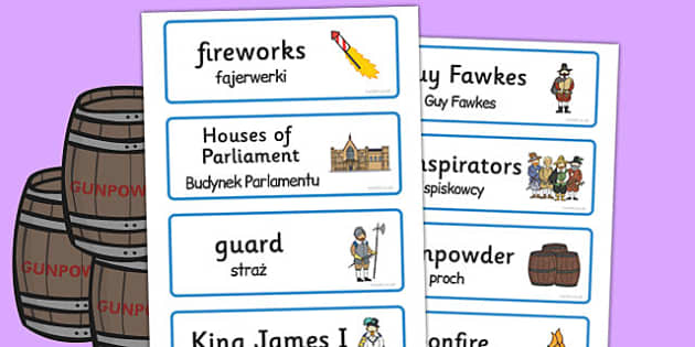 The Gunpowder Plot Topic Word Cards Polish Translation - polish