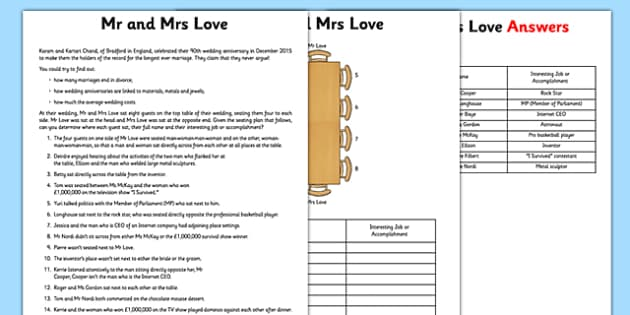 Mr and Mrs Love Table Puzzle Activity Sheet - logic, maths, mr and mrs, love table, puzzle, worksheet