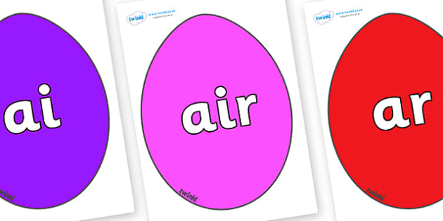 Phase 3 Phonemes on Easter Eggs (Coloured) - Phonemes, phoneme, Phase 3, Phase three, Foundation, Literacy, Letters and Sounds, DfES, display