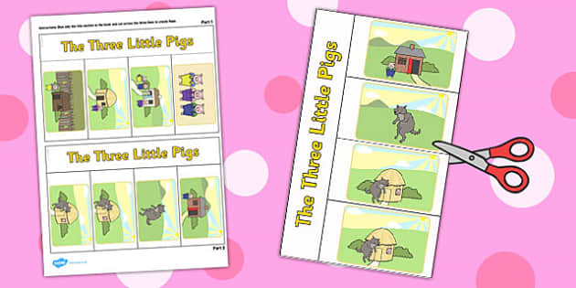 Three Little Pigs Story Writing Flap Book - writing, flap, book