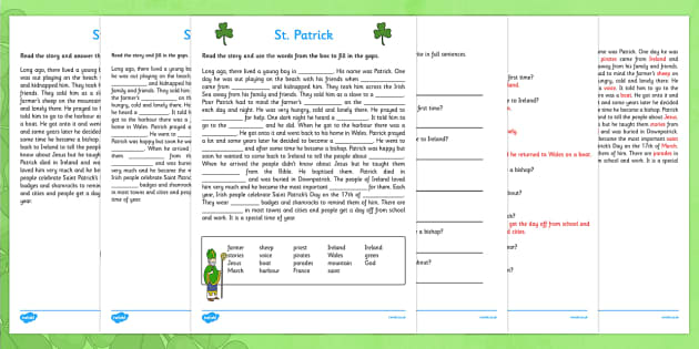 Saint Patrick Comprehension Activities First and Second Class - gaeilge, Saint Patrick, comprehension, reading, questions, religion, Ireland