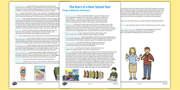 Start of a New School Year Checklist - new school, year, checklist