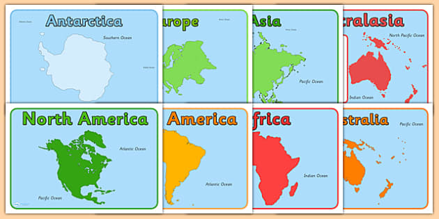Continent And Ocean Editable Group Signs - Continent, Geography