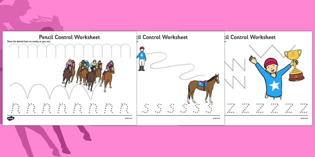 Melbourne Cup Pencil Control Worksheets - australia, melbourne cup, pencil control