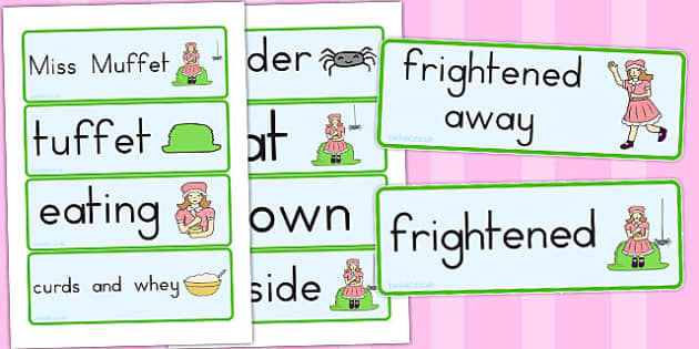 Little Miss Muffet Word Cards - australia, Little Miss Muffet