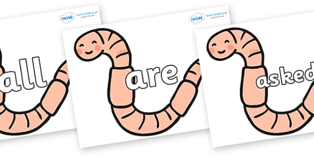 Tricky Words on Earthworms - Tricky words, DfES Letters and Sounds, Letters and sounds, display, words