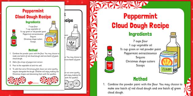 Peppermint Cloud Dough Recipe - Cloud, dough, christmas, EYFS, peppermint