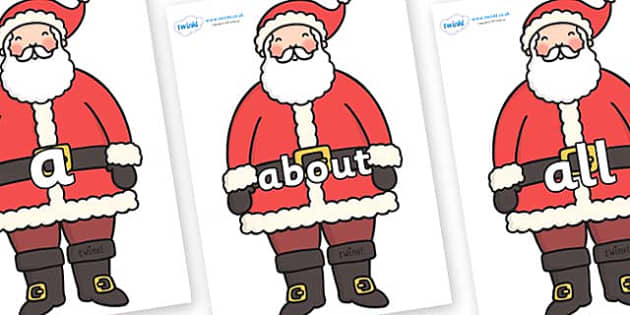 100 High Frequency Words on Santa - High frequency words, hfw, DfES Letters and Sounds, Letters and Sounds, display words