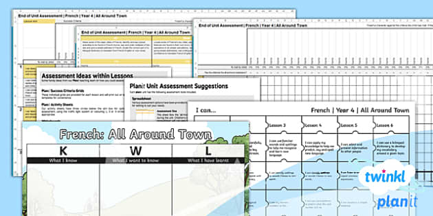 PlanIt - French Year 4 - All Around Town Assessment Pack - planit, french, year 4, all around town, assessment pack
