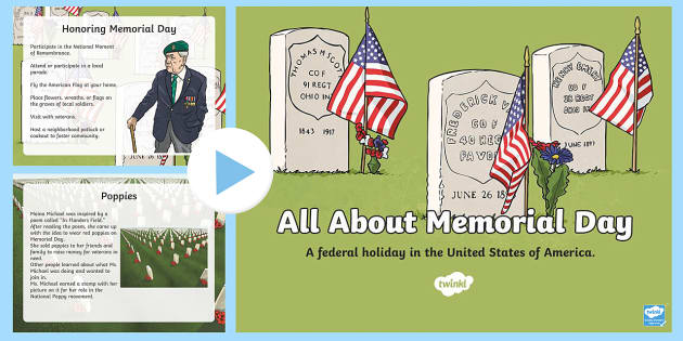 Memorial Day PowerPoint - Memorial Day Resources Grades 3-5, veterans, celebrations, USA, memorial, festivals, veterans, servi