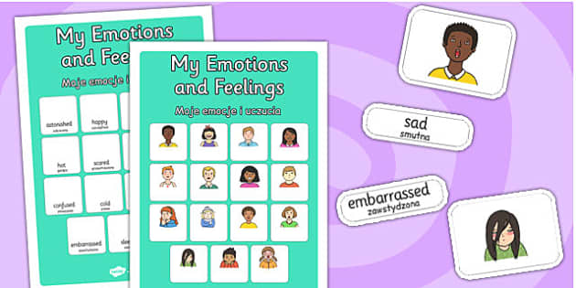 My Emotions and Feelings Vocabulary Matching Mat Polish Translation - polish