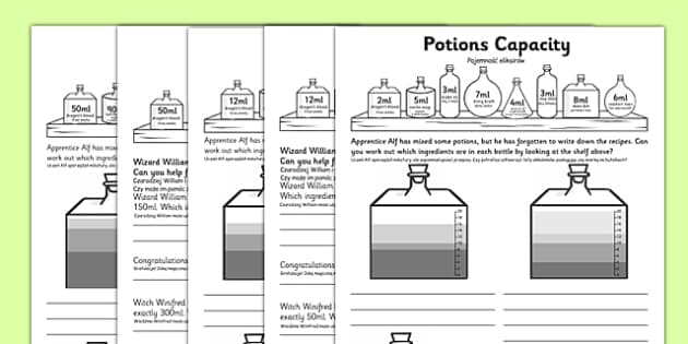 KS1 Potions Capacity Activity Polish Translation - polish, problem solving, find all possibilities