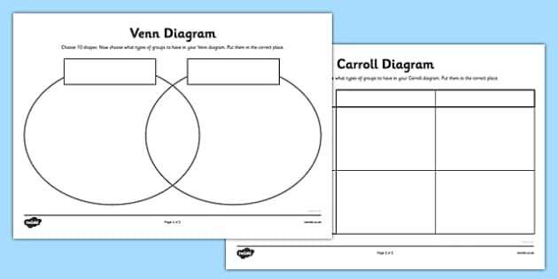 Shapes Carroll and Venn Diagram Worksheets - carroll diagram worksheet, venn diagram worksheet, diagrams worksheets, shapes worksheets, ks2