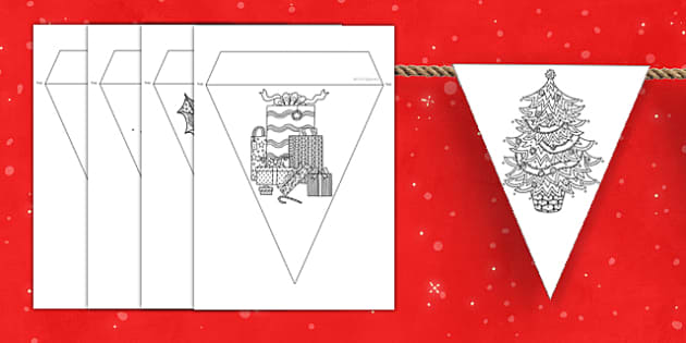 Christmas Themed Mindfulness Colouring Bunting - christmas, mindfulness, colouring, bunting