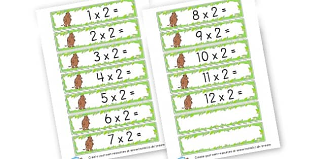 2 x Table Number Sentences Gruffalo - Times Tables Primary Resources, multiply, times, number of, games, Times, Table, Tabe