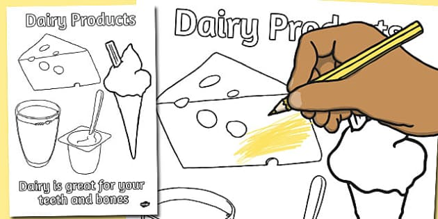 Dairy Products Colouring Poster - dairy, products, colour, poster
