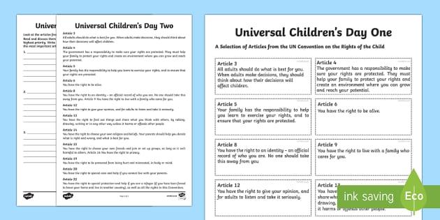 KS2 Universal Children's Day Activity Sheets