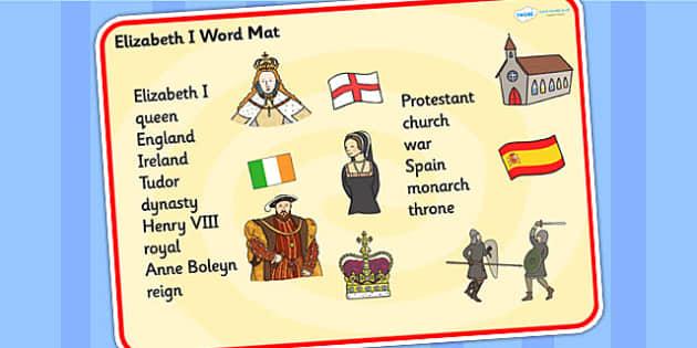Elizabeth I Word Mat - elizabeth 1, history, keywords, word mat