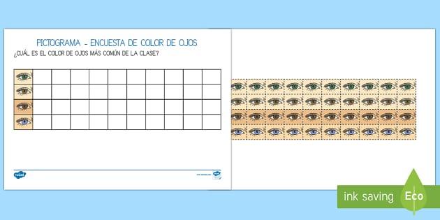 Pictograma: Encuesta del color de los ojos - Mi cuerpo - Mi cuerpo, proyecto, conocimiento de mí mismo, datos, gráficos,Spanish