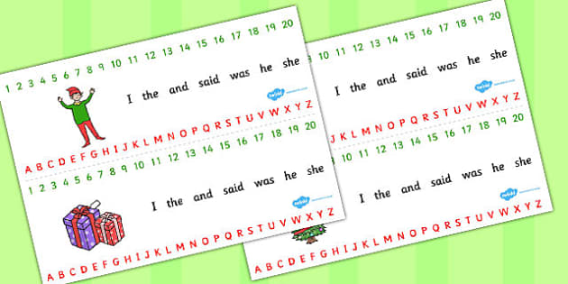 Elf Themed Combined Number And Alphabet Strips - alphabet, number