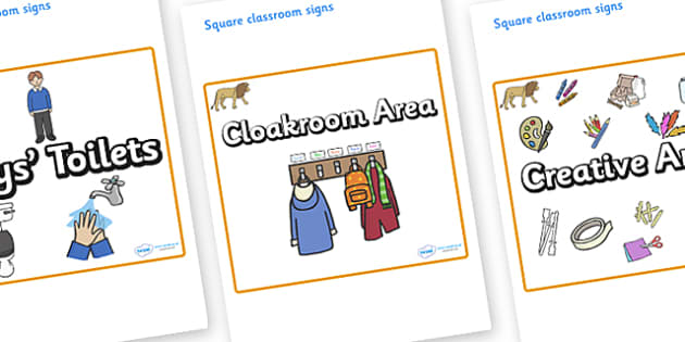 Lion Themed Editable Square Classroom Area Signs (Plain) - Themed Classroom Area Signs, KS1, Banner, Foundation Stage Area Signs, Classroom labels, Area labels, Area Signs, Classroom Areas, Poster, Display, Areas