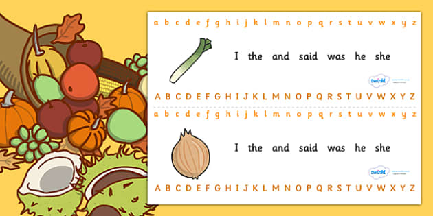 Alphabet Strips (Harvest) - Alphabet, Learning letters, Writing aid, Writing Area, harvest festival, fruit, apple, pear, orange, wheat, bread, grain, leaves, conker