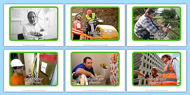 Irish Occupations The Building Site Display Photos Gaeilge English Translation - display, photos, occupations, hospital, Building site, Irish