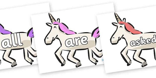 Tricky Words on Unicorns - Tricky words, DfES Letters and Sounds, Letters and sounds, display, words