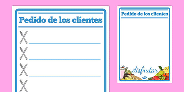 Bestellungen Restaurant Role Play Notepad Spanish - spanish, food, roleplay, props, cafe