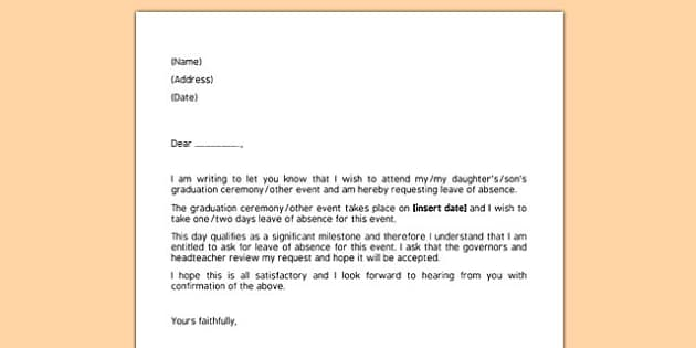 Editable Request for Leave of Absence Letter - request, leave, absence, letter