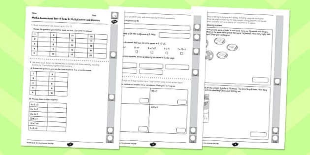 Year 4 Maths Assessment: Multiplication and Division Term 2 - year 4, maths, assessment, multiplication, division