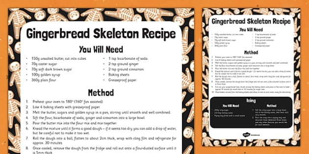Gingerbread Skeletons Recipe -food, instructions, halloween, KS1, KS2