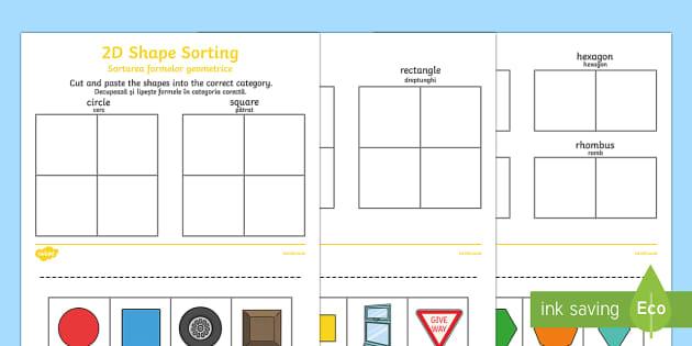 2D Shape Sorting Activity Sheet Romanian/English - 2D Shape Sorting Activity Sheet - 2D, shapes, 2D shape, 2D shapes, shape sorting, ks1 shape, eyfs sh
