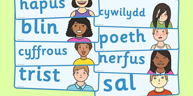 My Emotions Word Cards Welsh - feelings, feel, words, visual