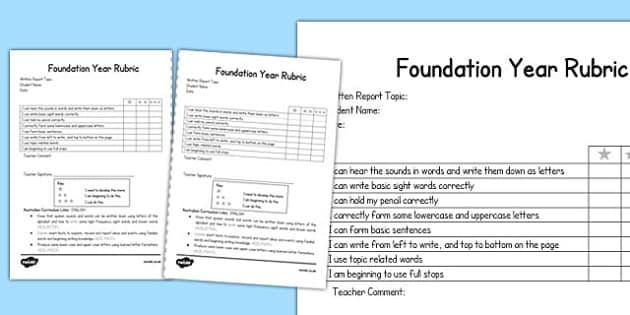 Written Report Rubric Foundation - australia, written, report, rubric, foundation