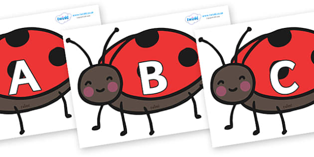 A-Z Alphabet on Ladybirds - A-Z, A4, display, Alphabet frieze, Display letters, Letter posters, A-Z letters, Alphabet flashcards