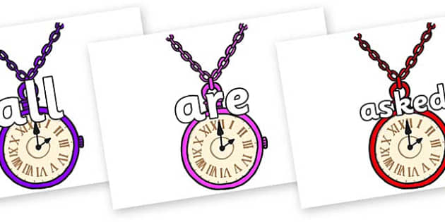 Tricky Words on Pocket Watches - Tricky words, DfES Letters and Sounds, Letters and sounds, display, words